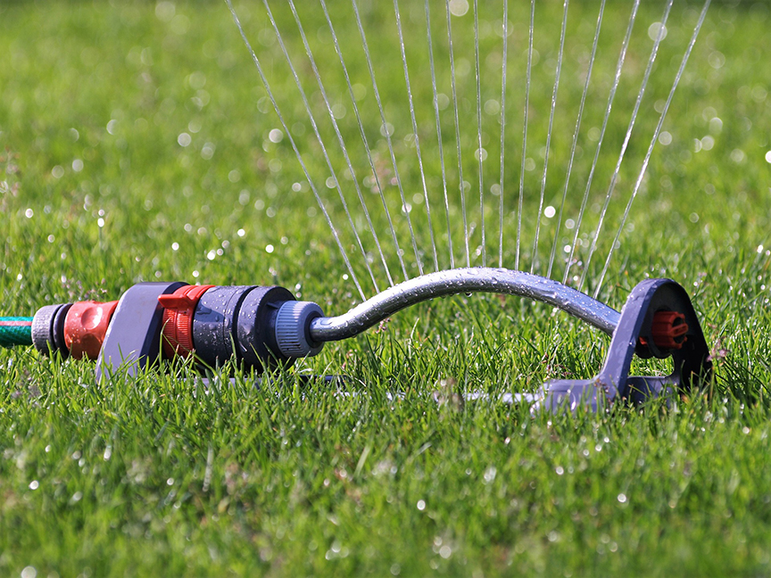 Sprinkler system watering Lush Lawn